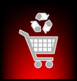shopping cart icon with a recycle sign postage vector image vector image