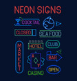 signs neon set neon colorful electric pointers vector image vector image