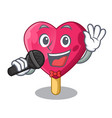 singing heart shaped ice cream the cartoon vector image