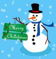 Snowman Christmas card-3 vector image vector image