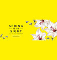 spring sale horizontal web banner poster with lily vector image vector image