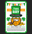 st patricks day leprechaun with clover hat gold vector image vector image