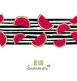 summer quote watermelon pattern design card vector image vector image