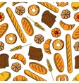 Sweet pastry and bread cartoon seamless pattern vector image vector image