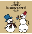 Two snowmen doodles vector image