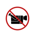 Video cam not allowed video recording forbidden vector image vector image