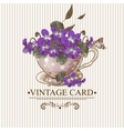 Vintage Floral Background with Violets in a Cup vector image vector image