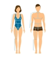 Woman and Man Body Front Back for Measurement vector image vector image