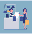 woman paying with cash at handbags department vector image