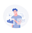 young man analyzing statistics vector image