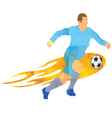 - Soccer player kicks the ball vector image