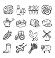 Agriculture Black White Icons Set vector image