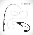 Fishing rod and fish vector image