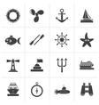 Black Marine and sea icons vector image