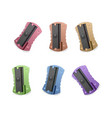 a set of realistic pencil sharpeners of bright vector image vector image