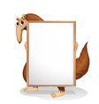 A wild animal holding an empty whiteboard vector image vector image