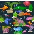 Aquarium fish seaweed underwater seamless pattern vector image vector image