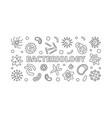 bacteriology line banner bacteria vector image vector image