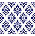 blue and white damask seamless pattern vector image vector image