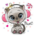cartoon cat girl with headphones on a white vector image vector image