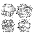 Cinema and 3d movie advertising designs in cartoon vector image vector image
