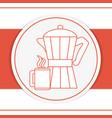 coffee kettle and mug on red background vector image