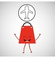 concept commerce bag gift with airplane icon vector image vector image