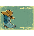 Cowboy boots image with grunge background