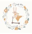 cute bunny rides cycle vector image vector image
