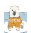 cute hand drawn polar bear in yellow sweater vector image vector image