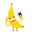 cute kawaii yellow banana making selfie photo vector image vector image