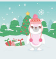 cute polar bear with hat gifts and trees merry vector image vector image