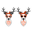 deer animal set in red sunglasses and headbands vector image vector image
