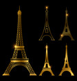 different golden eiffel tower landmark set vector image vector image