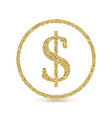 dollar icon with glitter effect isolated on white vector image vector image