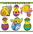easter chicks set cartoon vector image vector image