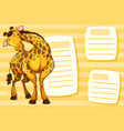 giraffe on note template vector image vector image
