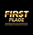 golden logo first place3d luxury font vector image