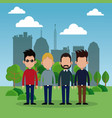 group man park city background vector image vector image