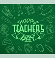 happy teachers day with doodle elements vector image