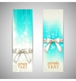 holiday blue banners with white bows vector image vector image