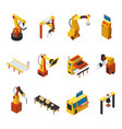 isometric automated machines set vector image vector image