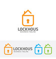 lock house logo design vector image