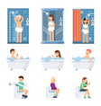male and women take a shower in bathroom flat vector image