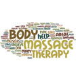 massage therapy beyond touch text background word vector image vector image