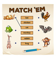 Matching game with many animals vector image vector image