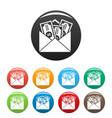 money corruption icons set color vector image