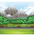Nature scene with park and mountain vector image vector image