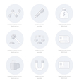 Office icons flat design Line icons style vector image