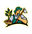 organic farmer holding plant mascot vector image vector image